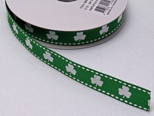 "Shamrock Grosgrain Ribbon -  Saint Patrick's Day White with Green Glitter Clovers Shamrocks on Green 5/8"" Wide Trim Trimming Ribbons By the Yard (Q940703-17) M217.12"