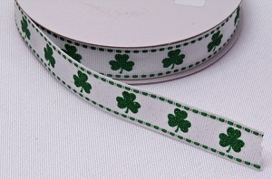 "Shamrock Grosgrain Ribbon -  Saint Patrick's Day Green Glitter Clovers Shamrocks on White 5/8"" Wide Trim Trimming Ribbons By the Yard (Q940703-01) M217.13"