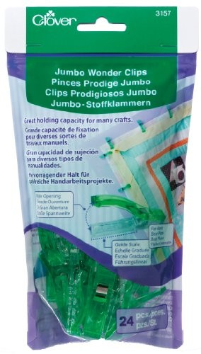 "Binding Clips - 24-Piece Jumbo Wonder Clips by Clover 2.25"" Green & Clear 3157 (M222.12)"
