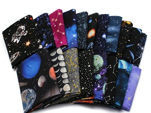 10 Fat Quarters - Outer Space Astronomy Solar System Stars Planets Comet Celestial Galaxies Moon Astronaut Cosmos Fabrics Quality Quilters Cotton Assorted Fat Quarter Bundle M224.03