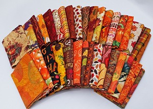 10 Fat Quarters - Autumn Fall Autumnal Nature Leaves Quality Quilters Cotton Fabrics M227.02