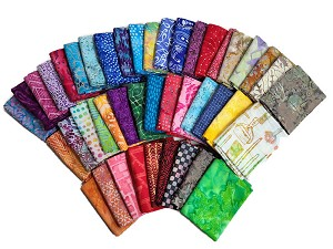 10 Fat Quarters - Batik Prints Hand-dyed Painted Quilter's Batiks Assorted Quality Cotton Fabrics  M227.03