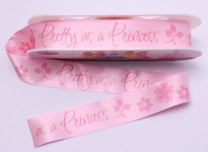 "Pink Satin Ribbon - 2"" inch wide Fold-over Blanket Binding Polyester Princess Floral Flowers Pink Peach Strip Trim Trimming By the Yard M402.05"