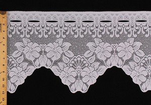 "12"" Lace Valance Cafe Curtain Isabelle White Floral Flowers Border Ready to Hang Fabric By the Yard (M403.25)"