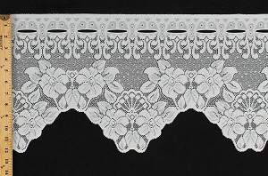 "12"" Lace Valance Cafe Curtain Isabelle Ivory Floral Flowers Border Ready to Hang Fabric By the Yard (M403.26)"