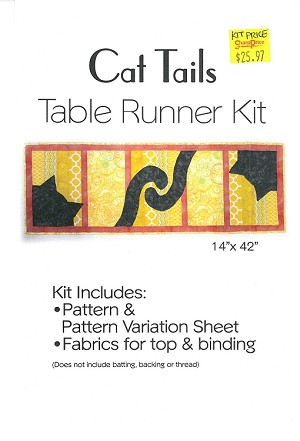 "Quilt Kit - Cat Tails 14"" x 42"" Table Runner Cats Animals Orange Yellow Quilts Quilting Kit - Sold by the Kit (M409.18)"