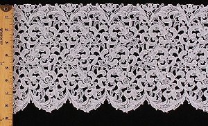"White Lace - 8.75"" Wide Scalloped Lace Trim Flowers Floral Leaves Trimming Edging by the Yard - M410.07"