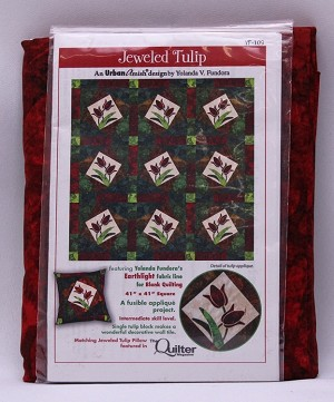 Quilt Kit - Jeweled Tulip with Earthlight by Yolanda Fundora Tulips Flowers Floral Urban Amish Quilting Cotton Fabric Kit -Sold by the Kit (M416.03)