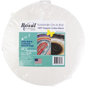 "Batting - Bosal Katahdin On-A-Roll 2.5"" wide Pre-Cut Lightweight Jelly Roll Rug Batting 100% Organic Cotton Blend - Sold by the 50 Yard Roll (390K-75) M490.01"