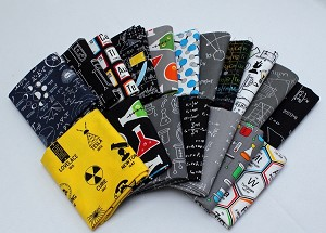 10 Fat Quarters - Science Fair Science Olympiad Scientist Engineer Chemistry Periodic Table Elements Physics Biology Quality Quilters Cotton Assorted Fat Quarter Bundle M491.02