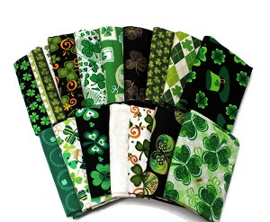 10 Fat Quarters - St. Patrick's Day Saint Paddy's Day Shamrocks Clover Gold Green Luck of the Irish Assorted Quality Quilters Cotton Assorted Fat Quarter Bundle M491.09