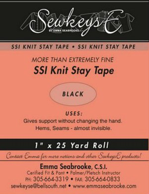 "Black - 1"" Fusible SS1 Knit Stay Tape - More Than Extremely Fine 1"" X 25 yards SewkeysE Knit Interfacing Sold by the 25 yard Roll (SS1-BL) M494.18"