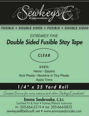 "CLEAR - 1/2"" Double Sided Fusible Stay Tape - 0.5"" X 25 yards SewkeysE Extremely Fine Sold by the 25 yard Roll (DSFST.5) M494.21"