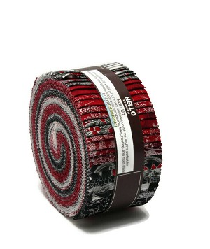 "Jelly Roll Holiday Flourish Scarlet Colorstory Red White Black Silver Metallic Winter Christmas 2.5"" Cotton Precuts (RU-824-40) M524.05"
