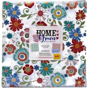 "10"" Layer Cake Squares - Home Grown by Nancy Halvorsen Benartex Spring Flowers Floral Fabric Bundle Quilter's Cotton Precuts M531.01"
