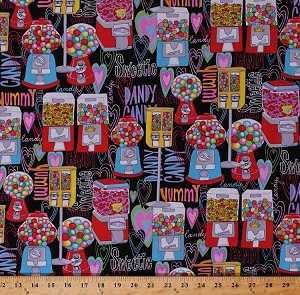 Cotton Candy Gumball Machines Vending Machines Dispensers Candies Sweets Confections Words Hearts Retro Black Cotton Fabric Print by the Yard (fun-c9272)