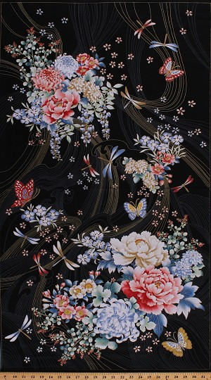 "23.5"" X 44"" Panel Niwa Floral Flowers Peonies Butterflies Dragonflies Asian Metallic Gold Shimmer Cotton Fabric Panel (24996)"