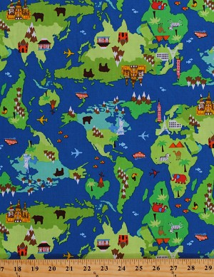 Cotton Kids World Map Atlas Maps Travel Country Landmarks Monuments Animals Cotton Fabric Print by the Yard (GAIL-2819-MAP)