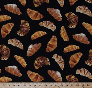 Cotton Croissants Crescent Rolls Chocolate Nuts Bread Pastry Pastries Food Desserts Sweets Bakery Baking Kitchen Black Cotton Fabric Print by the Yard (food-c9618-blk)