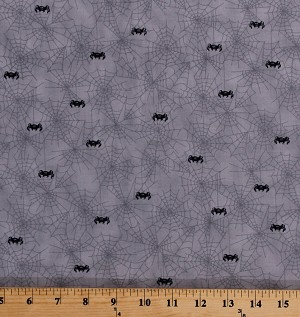 Cotton Spiderwebs Black Spiders Allover Cobwebs Webs Spooky Halloween Gray Cotton Fabric Print by the Yard (1649-22641-K)
