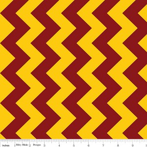 "58"" COTTON Riley Blake Medium Chevron Maroon/Gold Cotton Fabric Print By the Yard (MC380-03) (Similar Colors to Central Michigan University Chippewas CMU)"