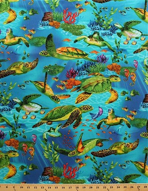 Cotton Sea Turtles Swimming Underwater Ocean Fish Plants Blue Cotton Fabric Print by the Yard (michael-c9986)