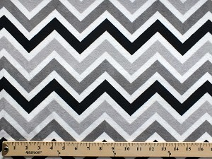 Micro Plush Chevron Black Gray Chevron Stripes on White Mink-Like Cuddle Feel Fabric by the Yard (5980S-12K)