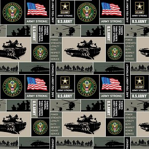 United States of America Army Fleece Fabric Print by the Yard oarmy012s