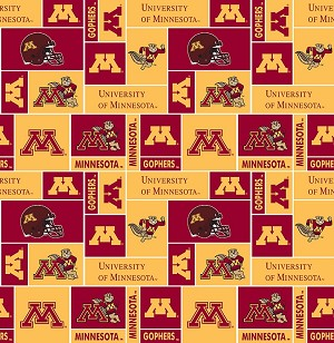 University of Minnesota™ Golden Gophers™ College Fleece Fabric Print