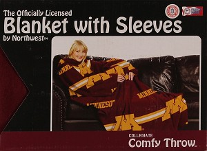 Comfy Throw Fleece Blanket with Sleeves Licensed College- Minnesota Golden Gophers
