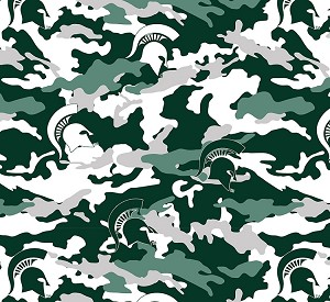 Michigan State University™ Spartans™ Camouflage College Fleece Fabric Print