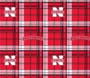 University of Nebraska™ Cornhuskers™ Plaid College Fleece Fabric Print