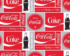 Coca-Cola Squares Soda Pop Bottles Fleece Fabric Print by the Yard o1486s
