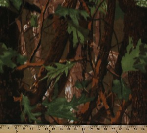 Camouflage Green with Leaves Branches Camo Fleece Fabric Print by the Yard ocamogreenf