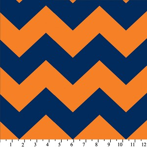 Fleece (not for masks) Chevron Blue / Orange Stripe Zig Zag Fleece Fabric Print by the yard (odt-3202-3a-19d)