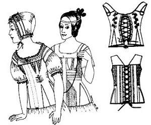 Past Pattern Corded Stays Corset 1820s-1840s Era Reproduction Costume Sewing Pattern (pattern only) pastpattern001