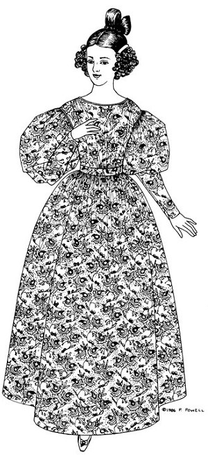 Past Pattern #003 1830's Full High Gown Dress Frock Sewing Pattern