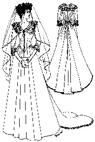 Past Pattern 1882-1888 Bustle Wedding Gown with Cathedral Train Sewing Pattern