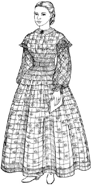 Past Pattern A Sheer Muslin Dress with Bishop Sleeves, Oversleeves & High Lining Circa 1858-1864 Sewing Pattern