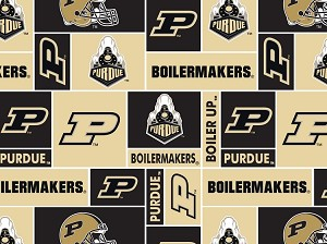 Fleece (not for Masks) Purdue University Boilermakers College Fleece Fabric Print by the yard
