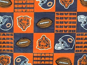 Fleece (not for masks) Chicago Bears Square NFL Football Fleece Fabric Print by the yard (s6232df)