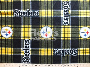 Fleece (not for masks) Pittsburgh Steelers NFL Plaid Football Team Sports Fleece Fabric Print by the yard (s6395df)