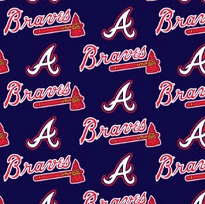 Cotton Atlanta Braves on Navy MLB Baseball Sports Team Cotton Fabric Print by the Yard