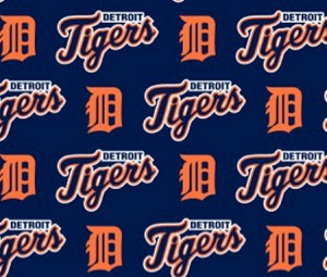 Cotton Detroit Tigers on Navy MLB Baseball Sports Team Cotton Fabric Print by the Yard
