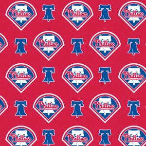 (Discontinued) Cotton Philadelphia Phillies on Red MLB Baseball Sports Team Cotton Fabric Print by the Yard