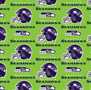 Fleece (not for masks) Seattle Seahawks Green NFL Football Fleece Fabric Print by the Yard (s6711df)