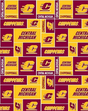 FLEECE Central Michigan University Chippewas CMU College Fleece Fabric Print by the yard