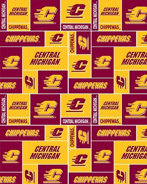 COTTON Central Michigan University CMU Chippewas College Team Cotton Fabric Print by the Yard