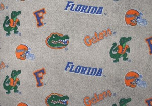 University of Florida™ Gators™ on Heather Grey College Fleece Fabric Print