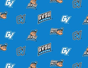 (1 yard pieces) FLEECE (not for masks) Grand Valley State University Lakers GVSU Turquoise College Fleece Fabric Print by the yard